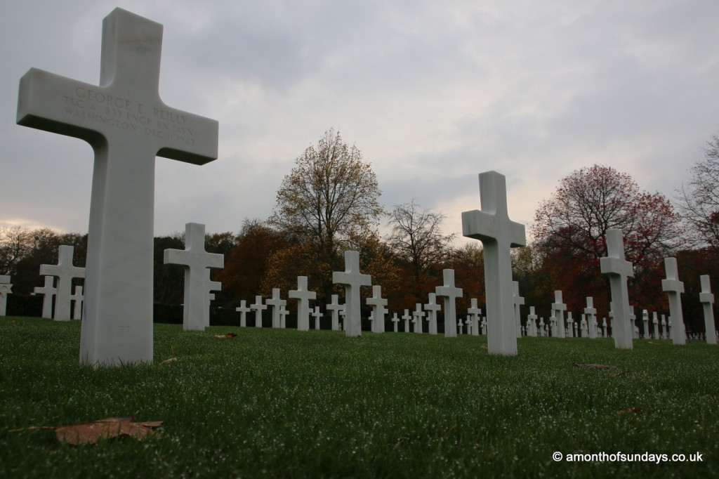 Sunset behind crosses at American War Cemetery