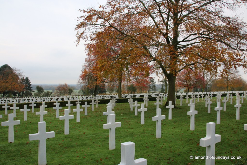 Autumnal trees at American War Cemetery