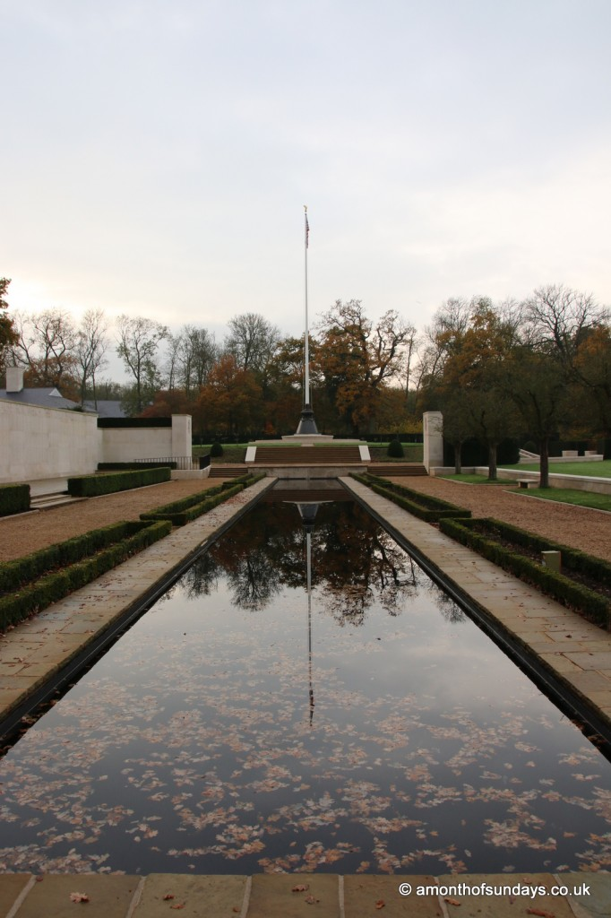American flag reflected at American War Cemetery