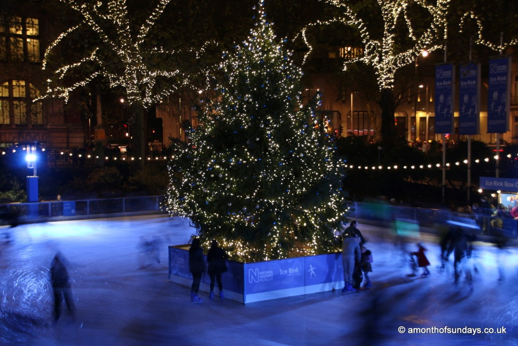 NHM ice rink by night