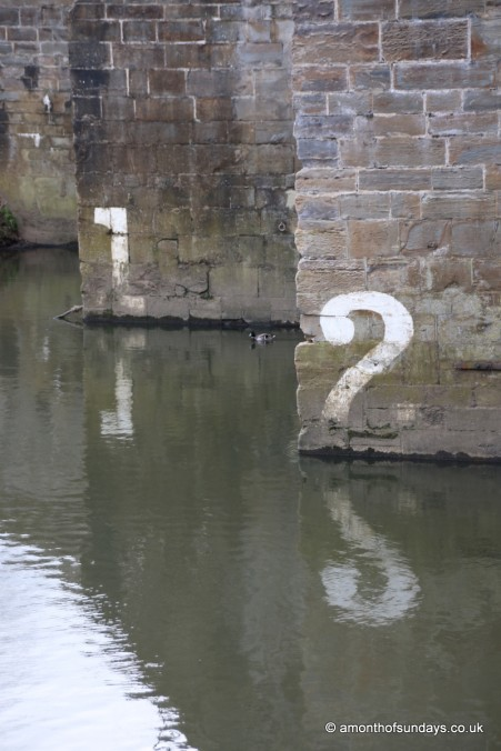 Boat markers on bridge in Durham