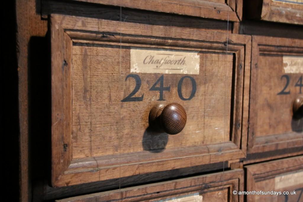 Deed drawers at Hardwick Hall
