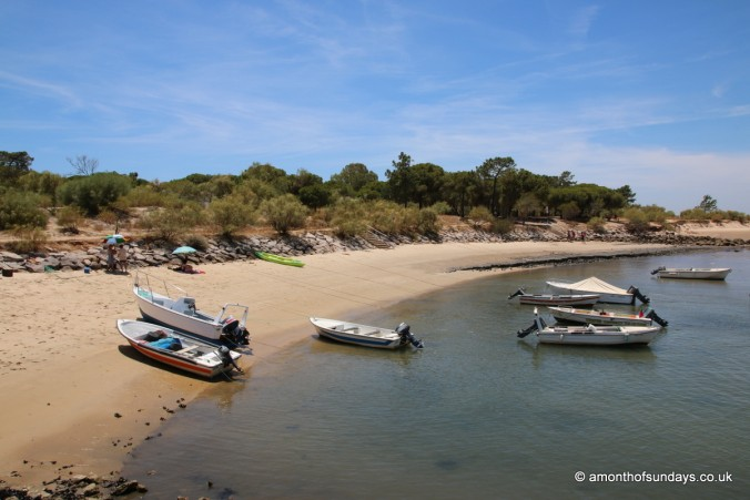 Boats on the beach on Ilha de Tavira