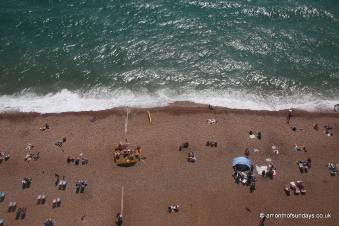 Looking down on Brighton beach