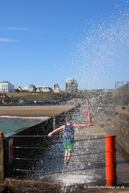 Wave spray on Brighton Marina