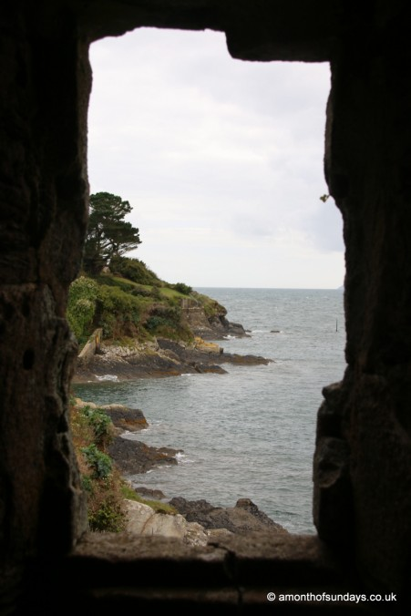 View through window in castle in Fowey
