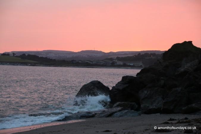 Sunset at Polkerris beach