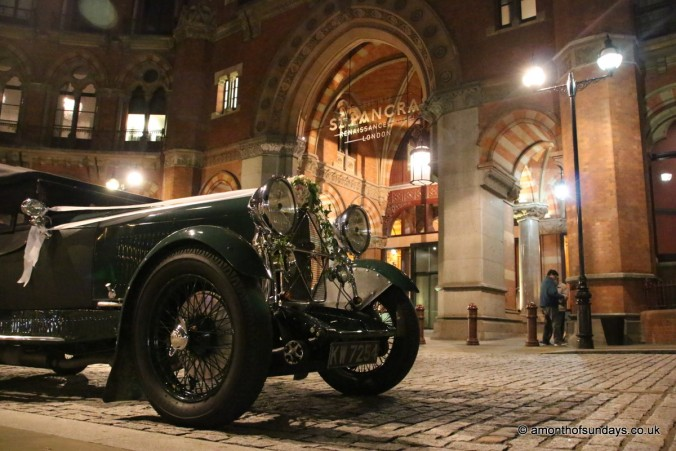 Wedding car outside St Pancras