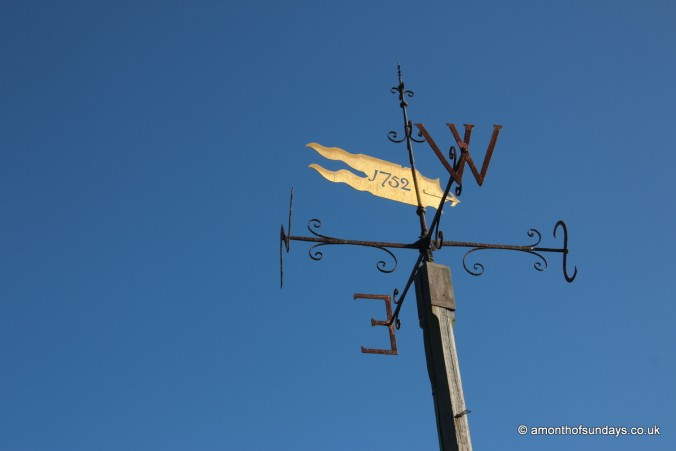 Weather vane at Mathias' grave at St. Asaph's Cathedral