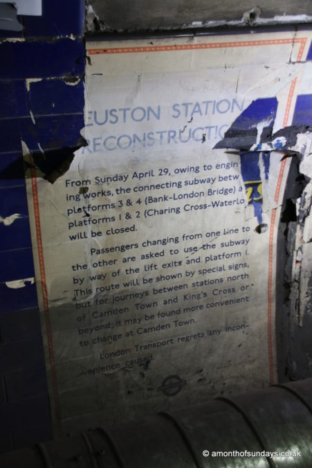 Construction poster on Euston: Lost Tunnels tour
